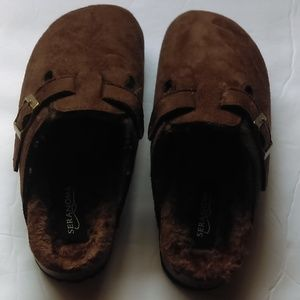 193e6cff878 Seranoma Brown Micro-suede clog slippers sz 6 NEW